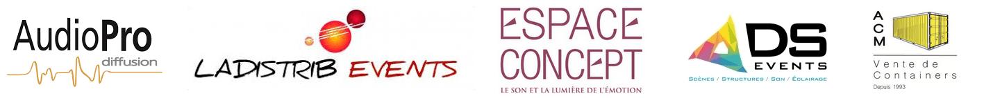 Partenaires Ekistack Audi Pro, La Distribe, Espace Concept; DS Events