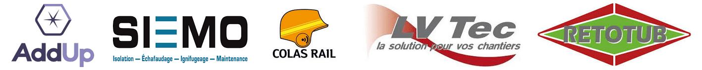 Partenaires Ekistack Addup, Siemo, Colas Rail, LV Tec, Retotub